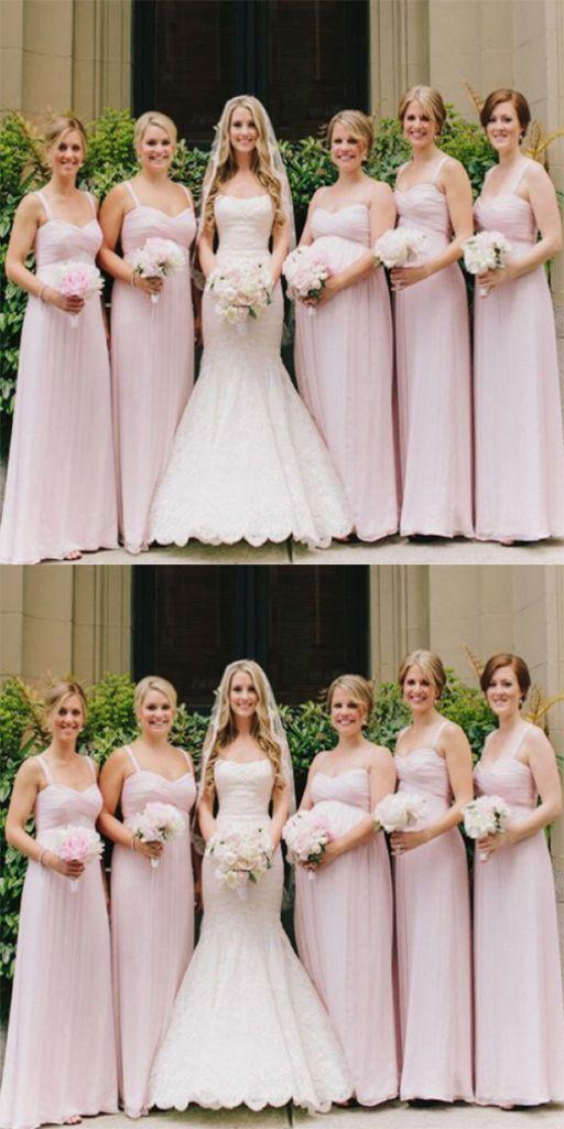 Pink Sleeveless Long Modest A-line Spaghetti Straps Simple Chiffon Bridesmaid