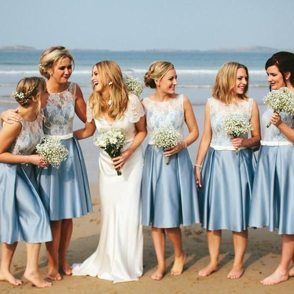 Popular Junior Pretty Blue Satin Short Bridesmaid Dresses Summer Beach Wedding