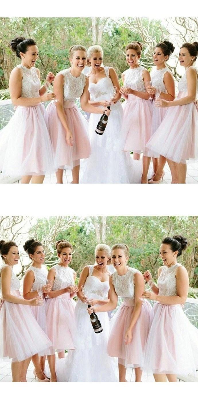 Princess Lace Bodice Pink Tulle Skirt Short Bridesmaid Dresses,Elegant