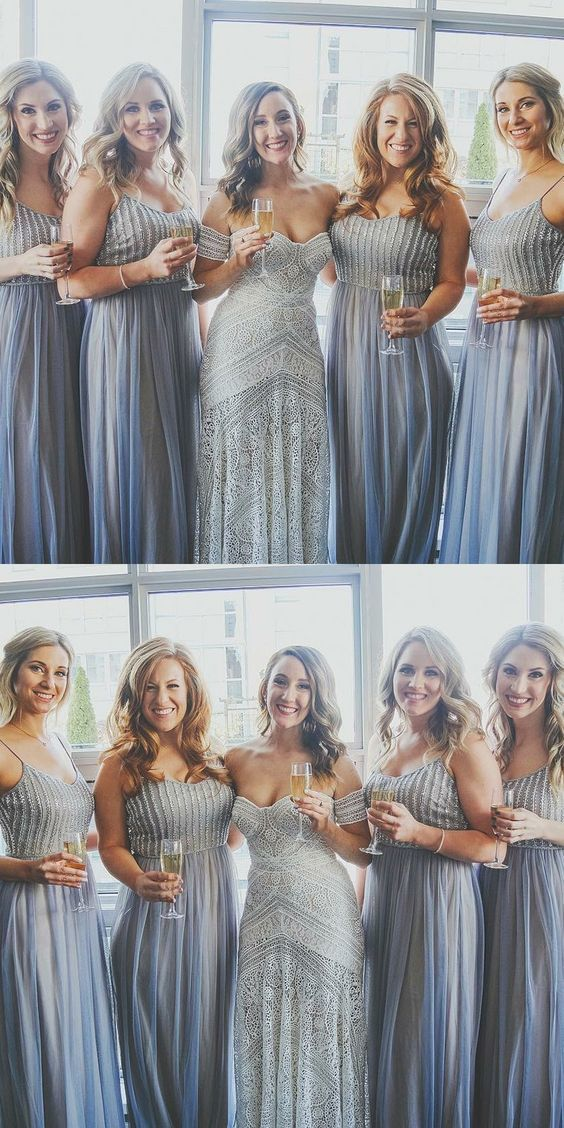 A-Line Spaghetti Straps Blue Bridesmaid Dress with Sequins