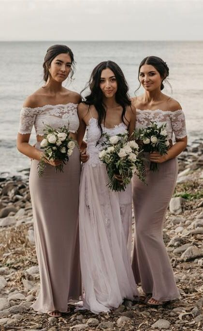 Two Piece Off-the-Shoulder Short Sleeves Light Grey Bridesmaid Dress with Lace