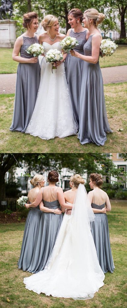 Halter Lace Chiffon Long Bridesmaid Dress Vintage Grey Wedding Party Formal Gown