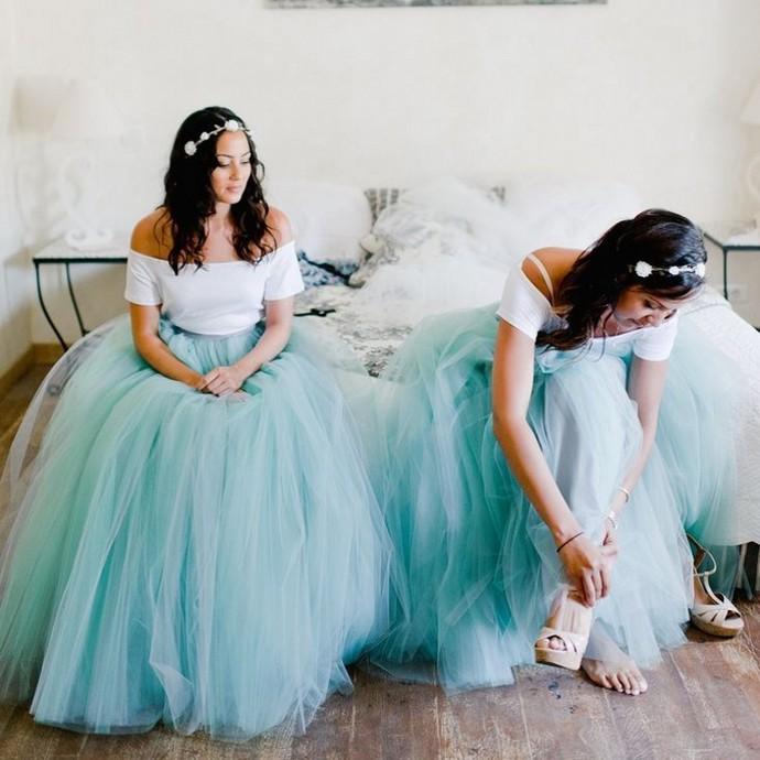 Fashion Long Teal Adult Tutu Skirt Floor Length Bridesmaid Dress
