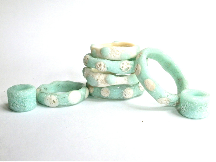 Lampwork Bead Set - Ancient Hoops and Rings, Beach Wedding Beads
