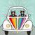 Tuxedo Cats Rainbow Bug Road Trip 4 Original Cat Folk Art Painting
