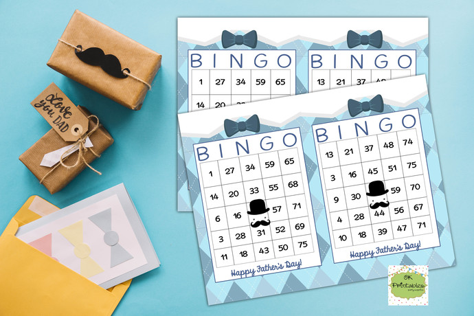 60 Happy Father's Day Bingo cards - Printable Game Father's Day Activity -