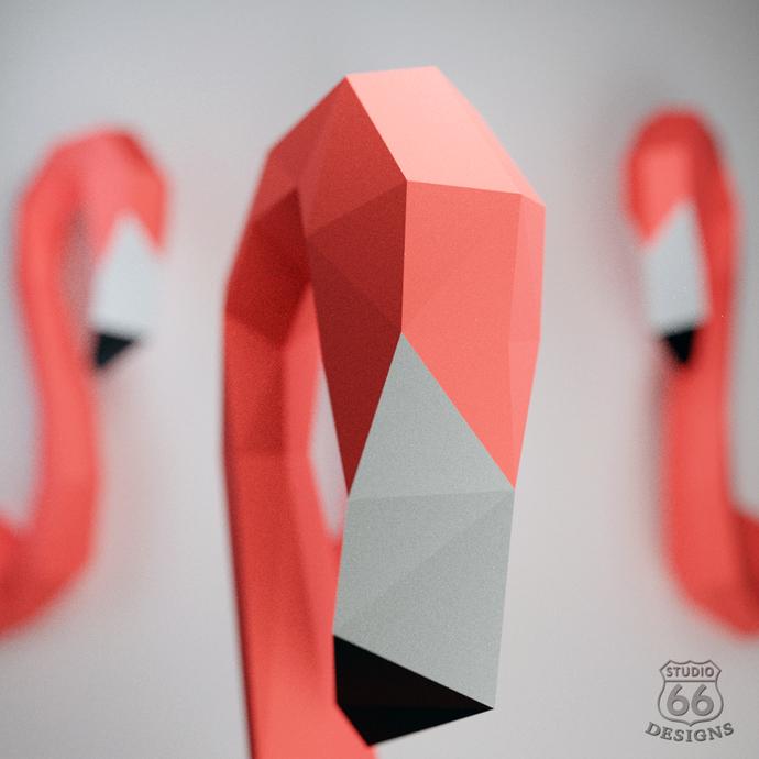 Papercraft Flamingo, Papercraft Pink Flamingo, 3D Paper Craft Sculpture, Paper
