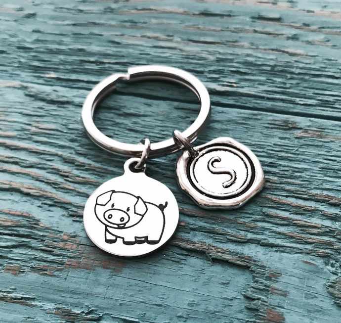 Paisley the pig, Pig, Silver Keychain, Silver Keyring, Pig Jewelry, Pig Gift,