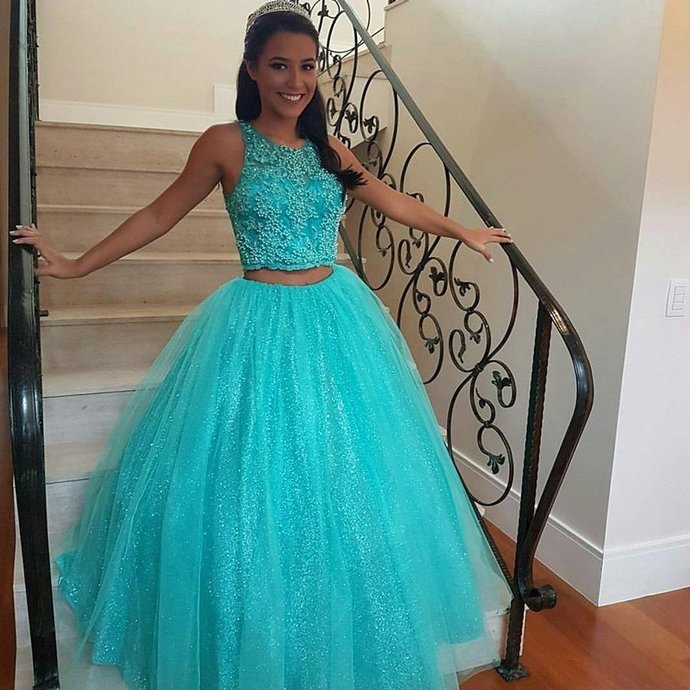Blue Tulle Two Piece Ball Gown Prom Dresses, Sexy Appliques Beaded Quinceanera