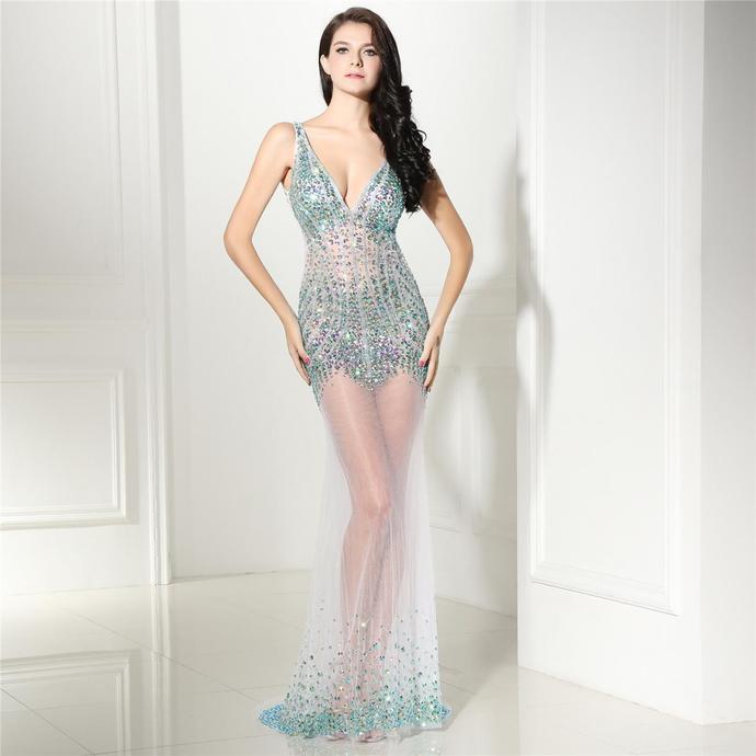 Luxury Beaded Prom Dresses Mermaid Deep V by prom dresses on Zibbet