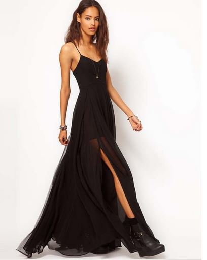 Chiffon maxi dress with straps