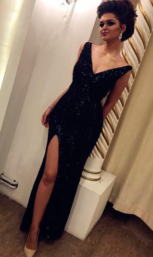 Charming V Neckline Split Side Evening Dress, Sexy Long Prom Dresses