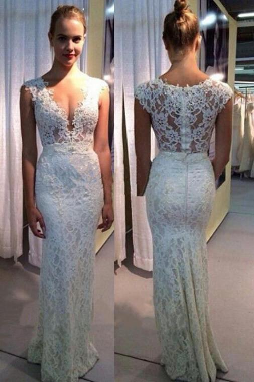 Sexy Appliques Lace Mermaid Evening Dress, Formal Long Prom Dresses
