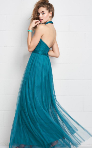 Tulle Halter Neckline, Full Length A-Line Bridesmaid Dress With Belt,Sexy Party