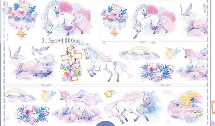 1 Roll Limited Edition Washi Tape - Dream world of  Unicorn