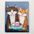 Sharing a Banana Split Ice Cream Original Cat Folk Art Painting