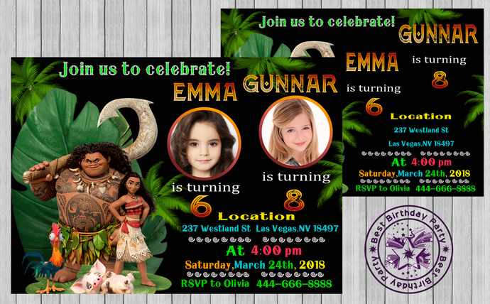 Moana invitation with palms for two girls, Moana birthday invitation, Moana