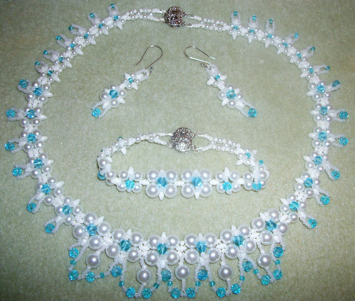 Pearl and Crystal Wedding Jewelry Set by Kathys Kreations on