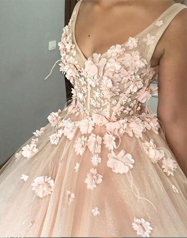 V Neck Ball Gown Prom Dress with Flowers