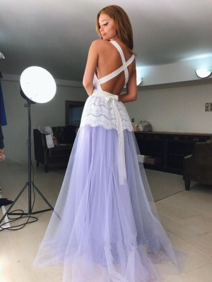 V Neck Floor Length Prom Dress with Long Straps