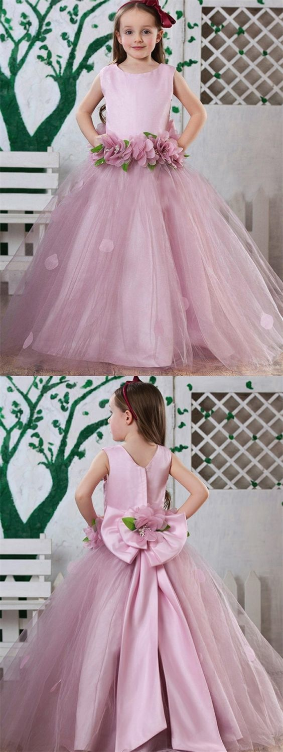 Chic Round Neck Blush Flower Girl Dress With By Destinydress On Zibbet