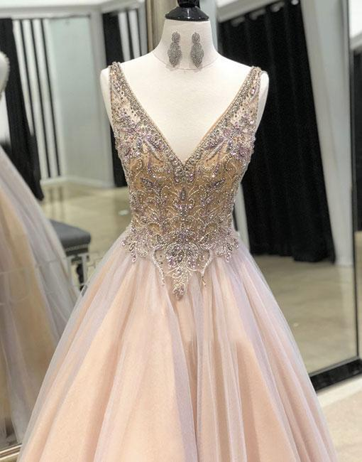Champagne v neck tulle long prom dress, evening