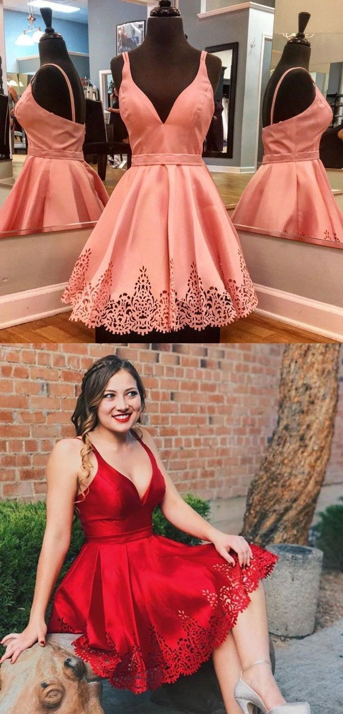 Sexy Spaghetti Straps A-Line Homecoming Dresses,Short Prom Dresses,Cheap