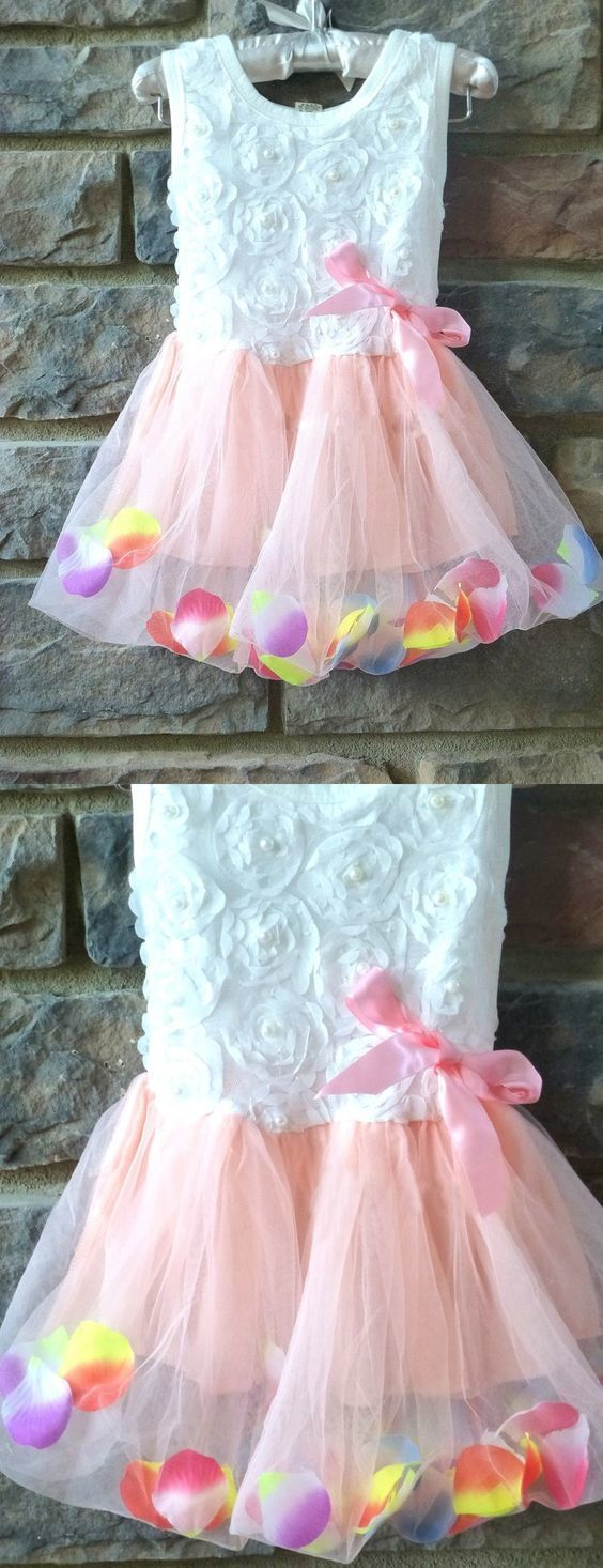 White And Pink Flower Girl Cute Flower Girl By Destinydress On Zibbet