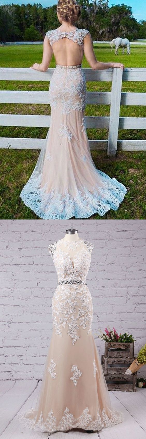 Mermaid Jewel Sweep Train Open Back Champagne Tulle Prom Dress with Applqiues