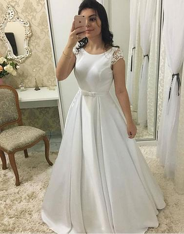 Cap Sleeves Ball Gown Wedding Dress with V Back