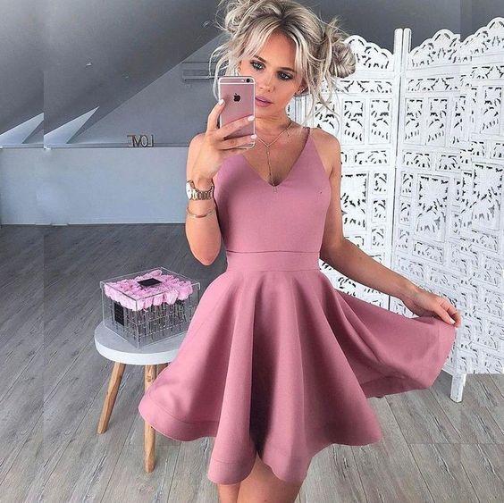 V Neck Short Homecoming Dress