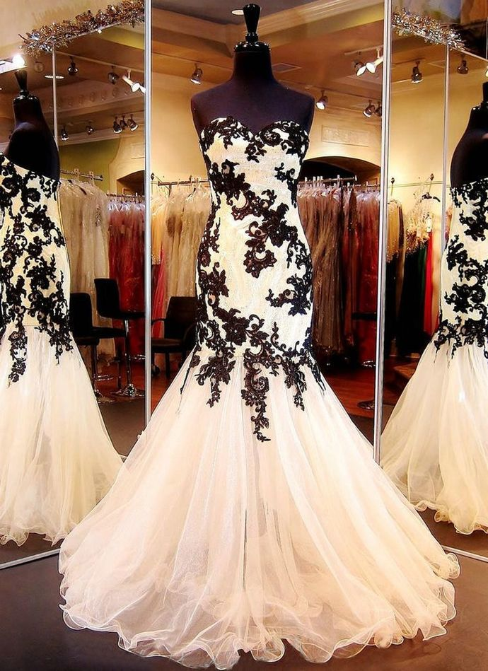 Sleeveless Mermaid Formal Occasion Prom Dress with Black Appliques Lace
