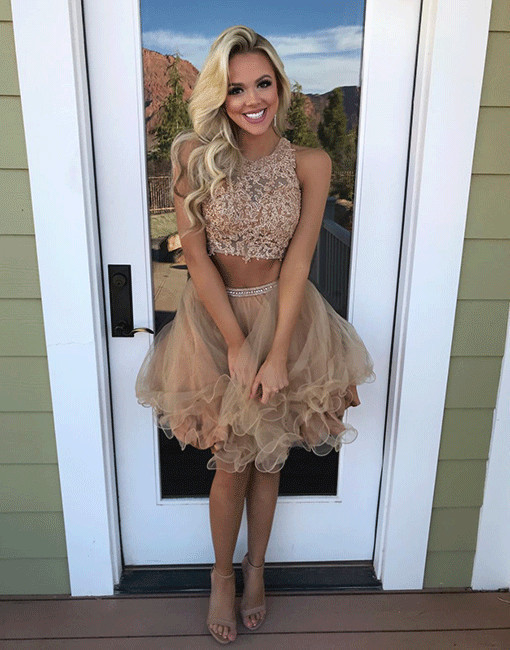 Two Pieces Short Homecoming Dress