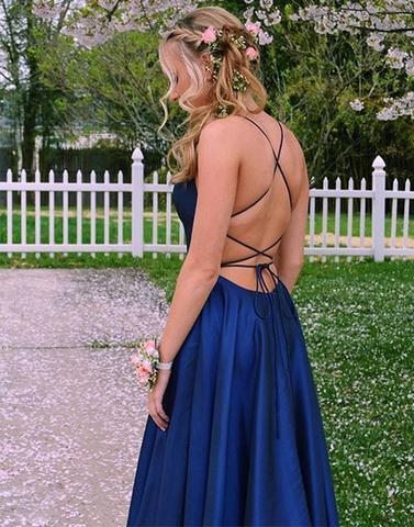 Simple Royal Blue Prom Dress with Slit
