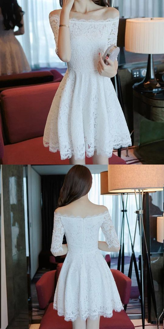 a5a33c3a2913 White Homecoming Dress,Lace Homecoming Dresses,Off Shoulder Prom Short  Dresses