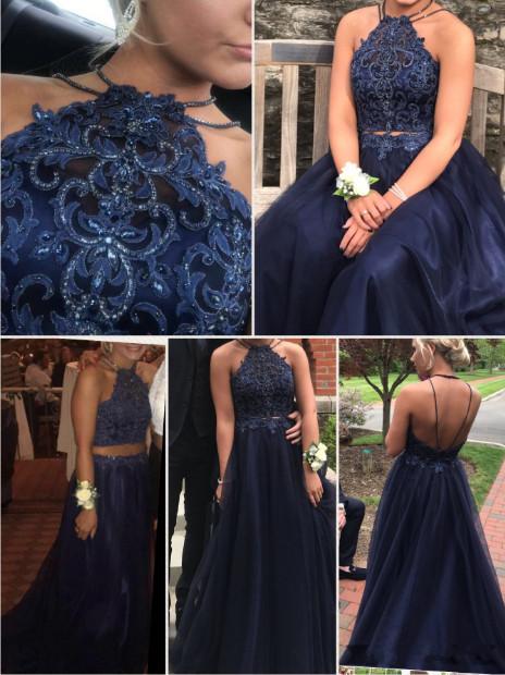 Royal Blue Halter Backless Prom Dress,Long Evening Dress,Evening Dress,Sweet 16
