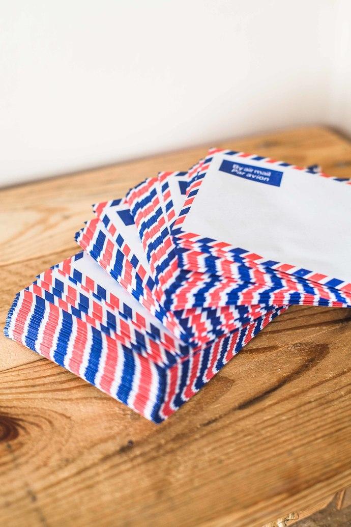 Bulk set of vintage airmail envelopes, produced in the UK - choose your amount