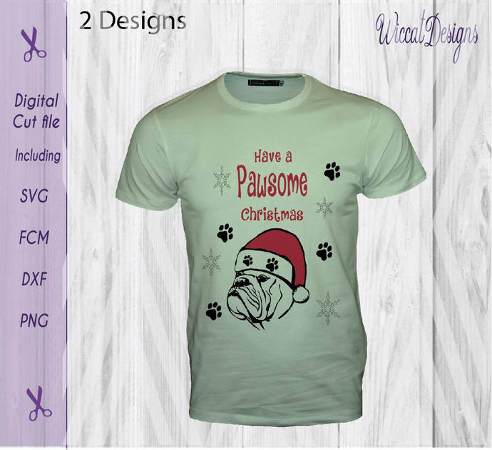 Bulldog svg, dog svg, Paws svg, Christmas dog svg, Santa svg,  christmas svg,