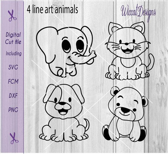 Baby animal bundle, Coloring svg, dog svg, cat svg, elephant svg, bear svg, line