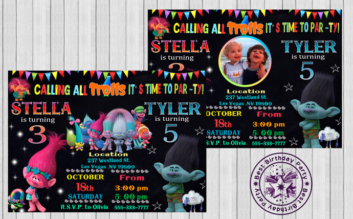 Trolls sibling birthday invitation by BestBirthdayParty on Zibbet