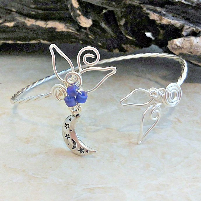 Moon and Stars Celestial Cuff Bracelet Sculpted Wire