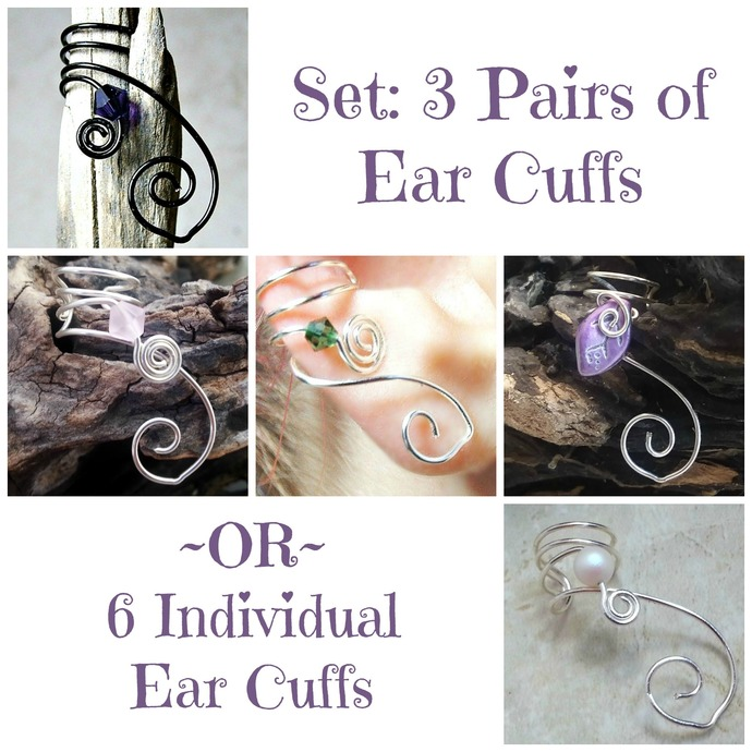 Set of 3 Pairs Ear Cuffs Custom Colors