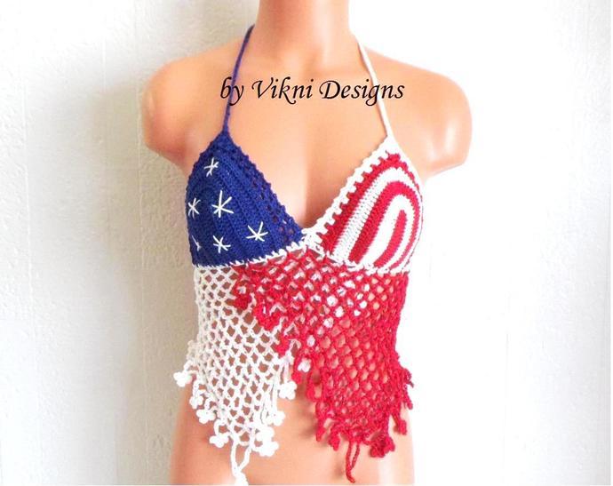 Crochet American Flag Top, Festival ButterflyCrochet American Flag Top, Festival