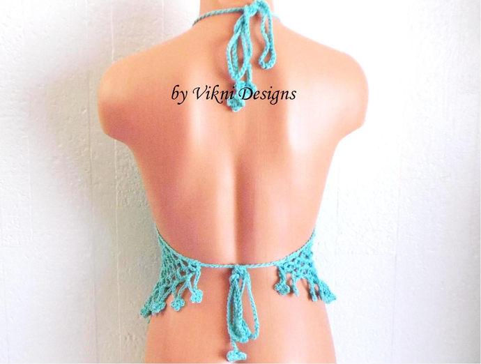Butterfly Teal Blue Festival Top, Flower Crochet Halter Top by Vikni Designs