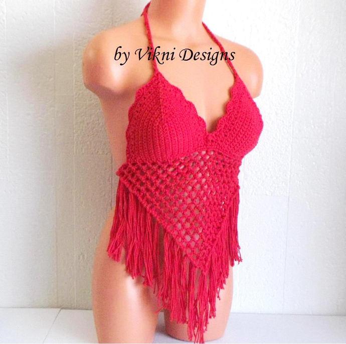 Fishnet Fringe Crochet Halter Top, Festival Red Fringe Crochet Top by Vikni