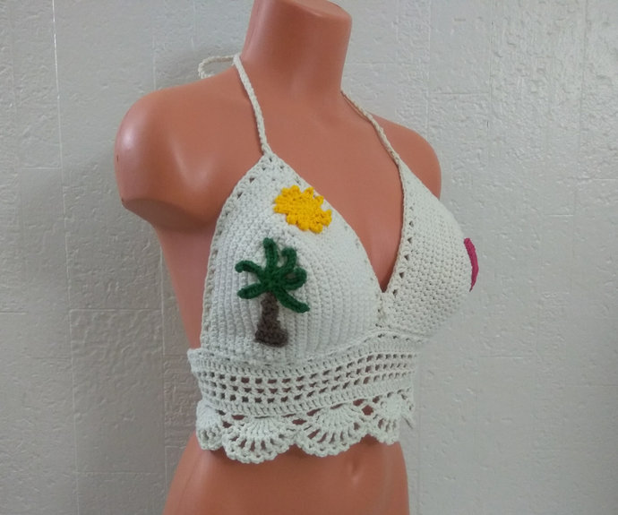 Palm Tree, Sun and Heart Crochet Top Crop Top Hippie Top, Lace up Beach Top,