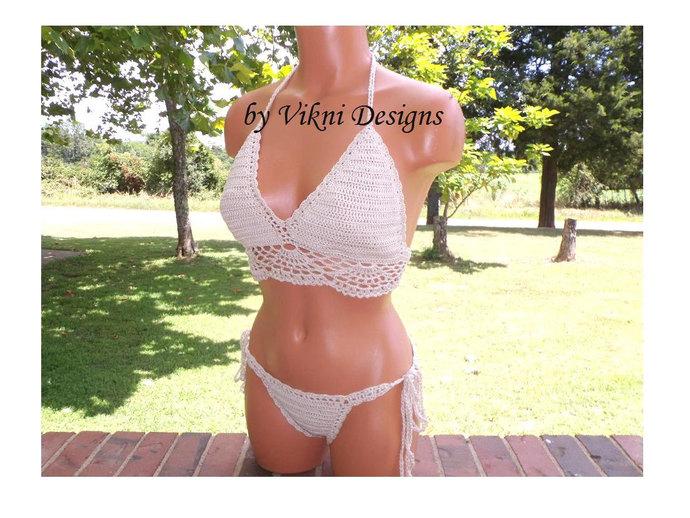 Crochet Halter Bikini, Brazilian Cheeky Crochet Bikini by Vikni Designs
