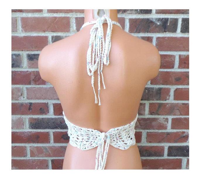Day Dream Halter Top, Hippie Crochet Crop Top by Vikni