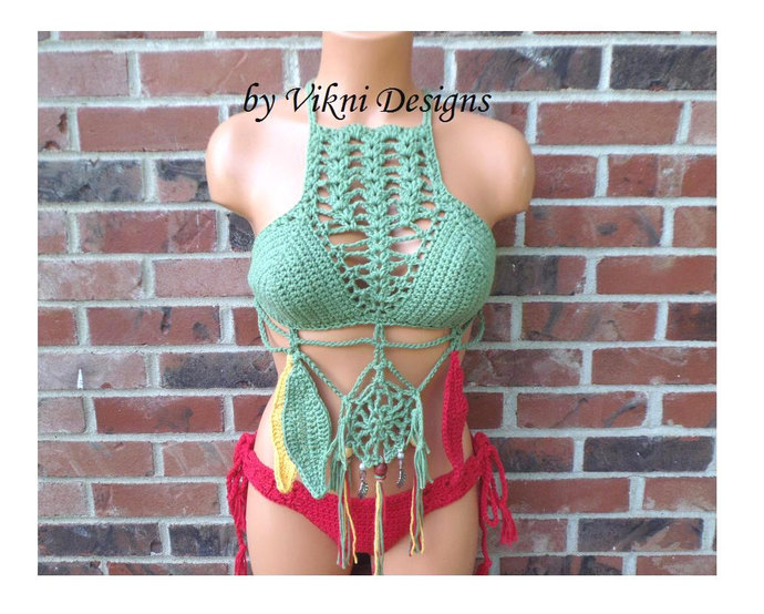 Brazilian Cheeky Bikini Bottom, Crochet Bikini Bottom  by Vikni Designs