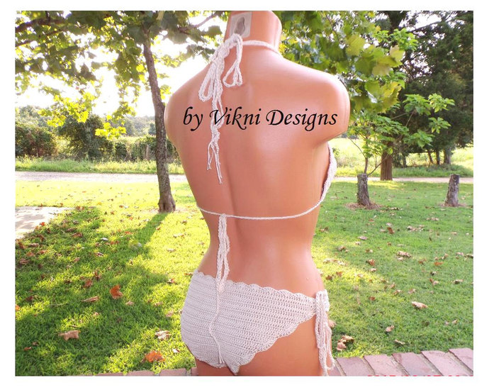 Crochet Swimwear, Cheeky Brazilian Bikini Set by Vikni Designs
